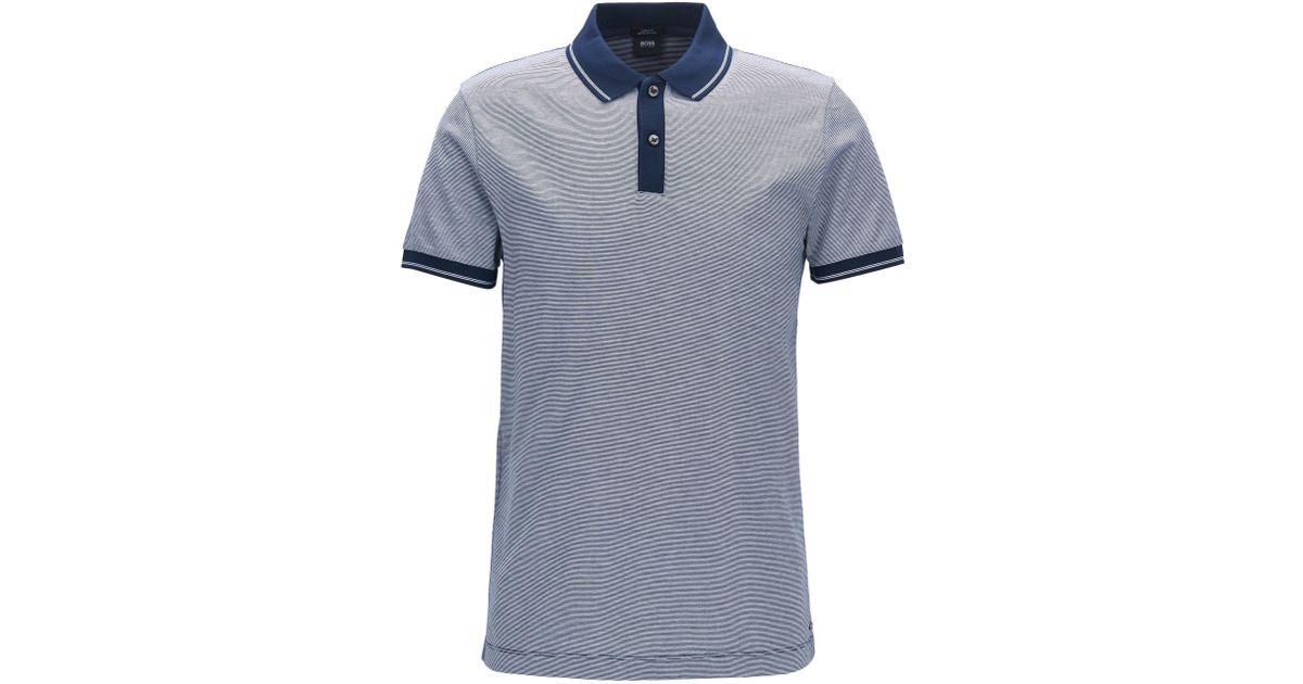 713fbab9 BOSS Mercerized Cotton Polo Shirt, Slim Fit | Phillipson in Blue for Men -  Lyst