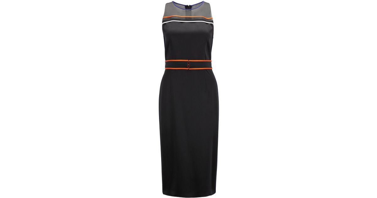 Sleeveless occasion dress with contrast-colour sporty piping BOSS FXhmNYL