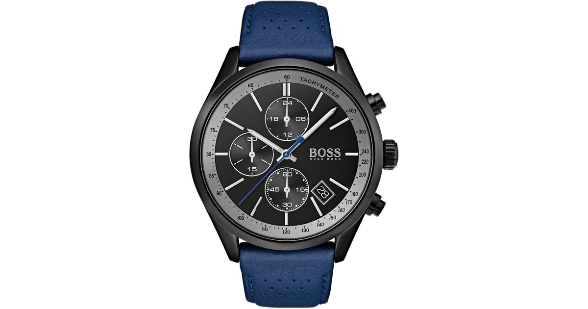 4bef76214 BOSS Black-dial Watch With Blue Perforated Leather Strap in Blue for Men -  Lyst