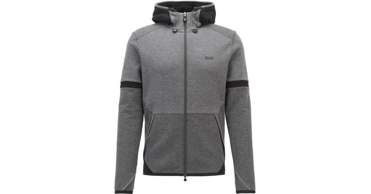 175a76b11253 BOSS Hooded Sweatshirt With Two-way Zip And Contrast Details in Gray for  Men - Lyst