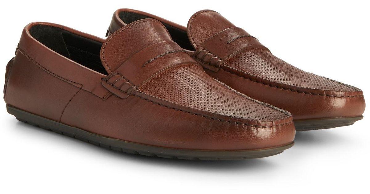 3cab71afd23 Lyst - HUGO Leather Driving Loafer