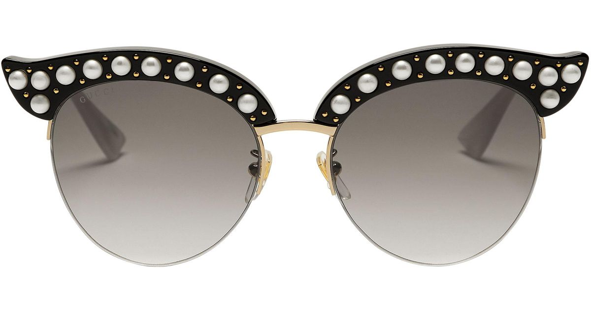 2669af7713 Gucci Faux Pearl-embellished Cat Eye Sunglasses in Metallic - Lyst