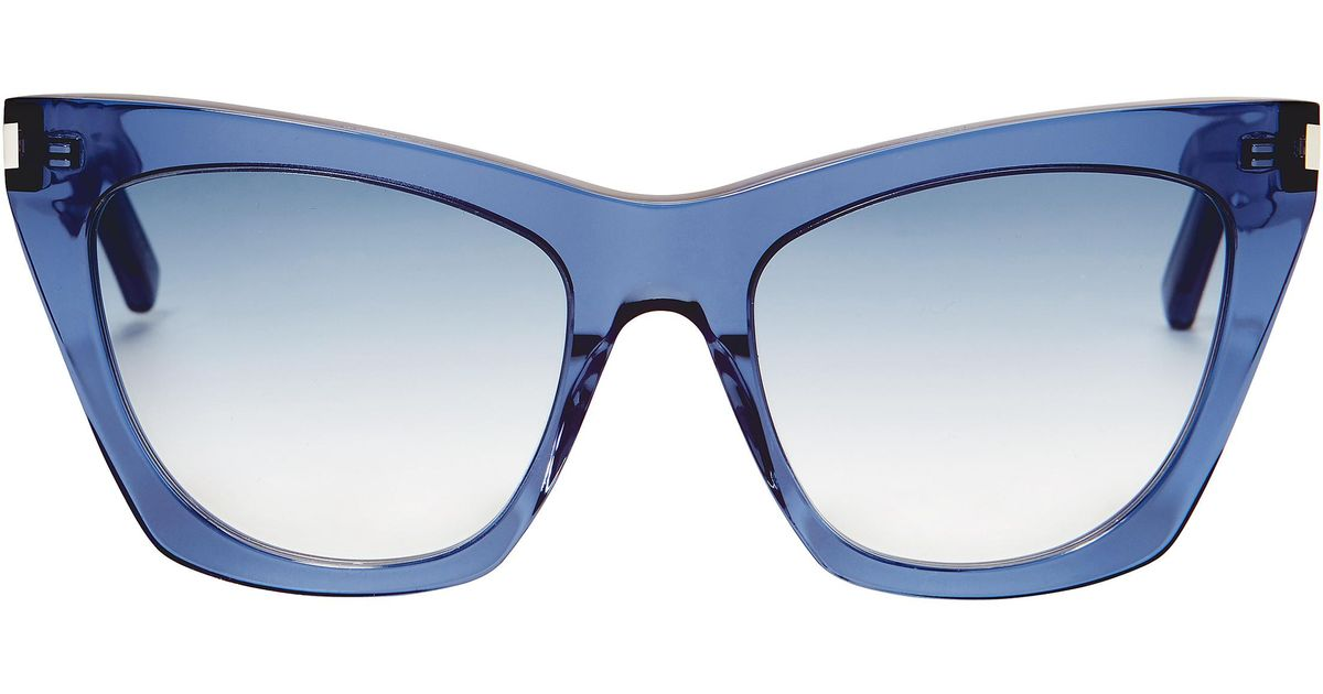 793026046c Saint Laurent Kate Square Cat Eye Sunglasses in Blue - Lyst