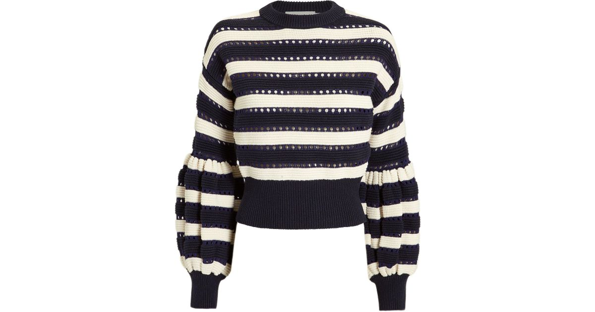 54b41c3bc7db Self-Portrait Cotton And Wool-blend Sweater in Blue - Save 53% - Lyst