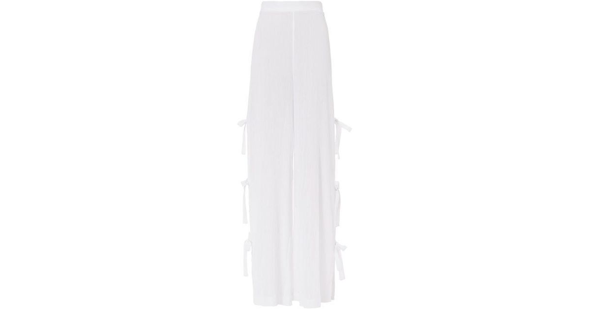 Women's White Side Tie Gauzy Pants