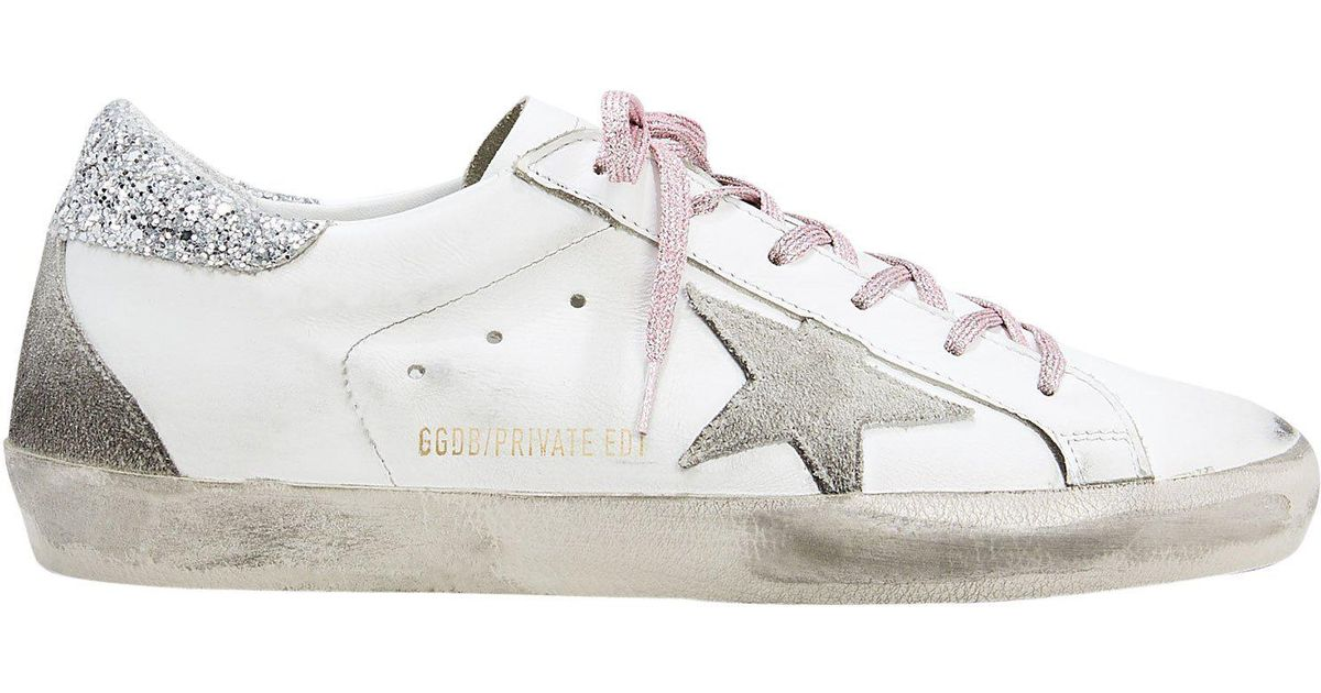 c838f331fb2 Lyst - Golden Goose Deluxe Brand Superstar Pink Glitter Laces Low-top  Sneakers