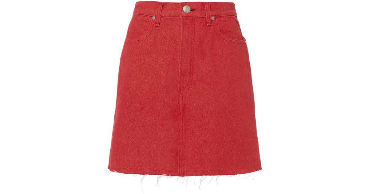 297ed1e737 Rag & Bone Moss High-rise Straight Denim Skirt in Red - Lyst