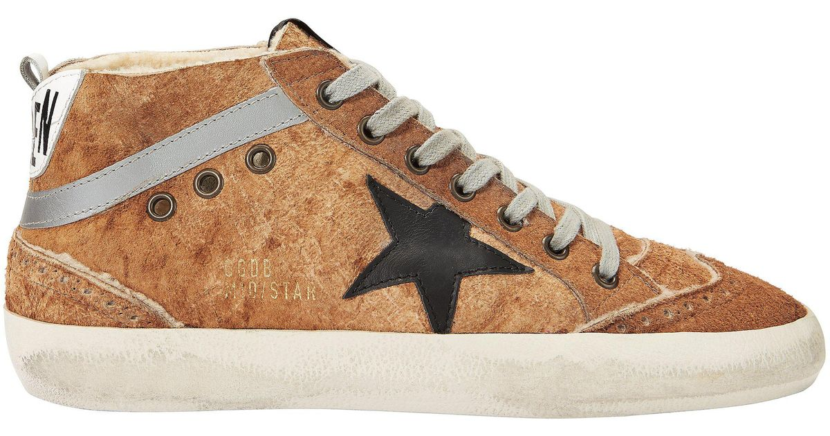 34b8e54c28366 Lyst - Golden Goose Deluxe Brand Mid Star Brown Leather And Shearling  Sneakers in Brown