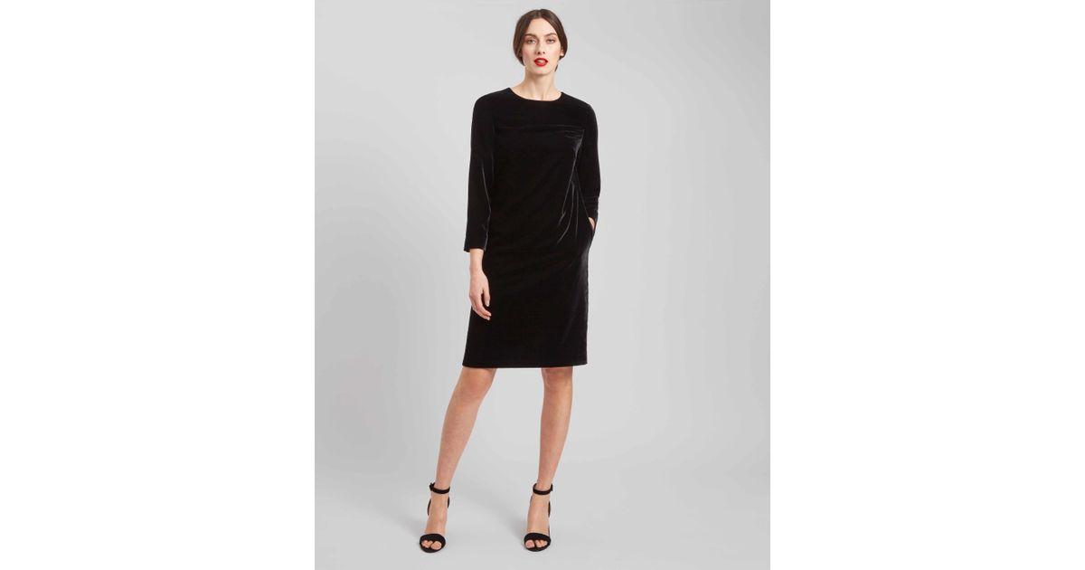 Lyst Jaeger Velvet Shift Dress In Black