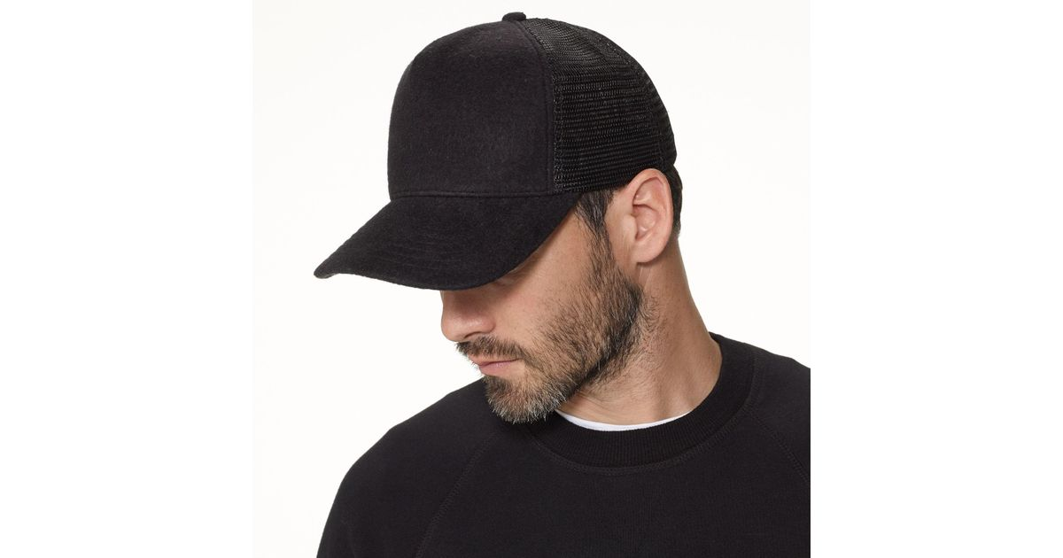 bf405a1fdb2 Lyst - James Perse Double Face Knit Trucker Hat in Black for Men