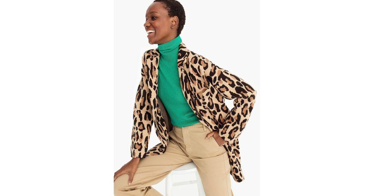 ad93dd92223f DEMYLEE X J.crew Open-front Sweater-blazer In Leopard Print - Lyst