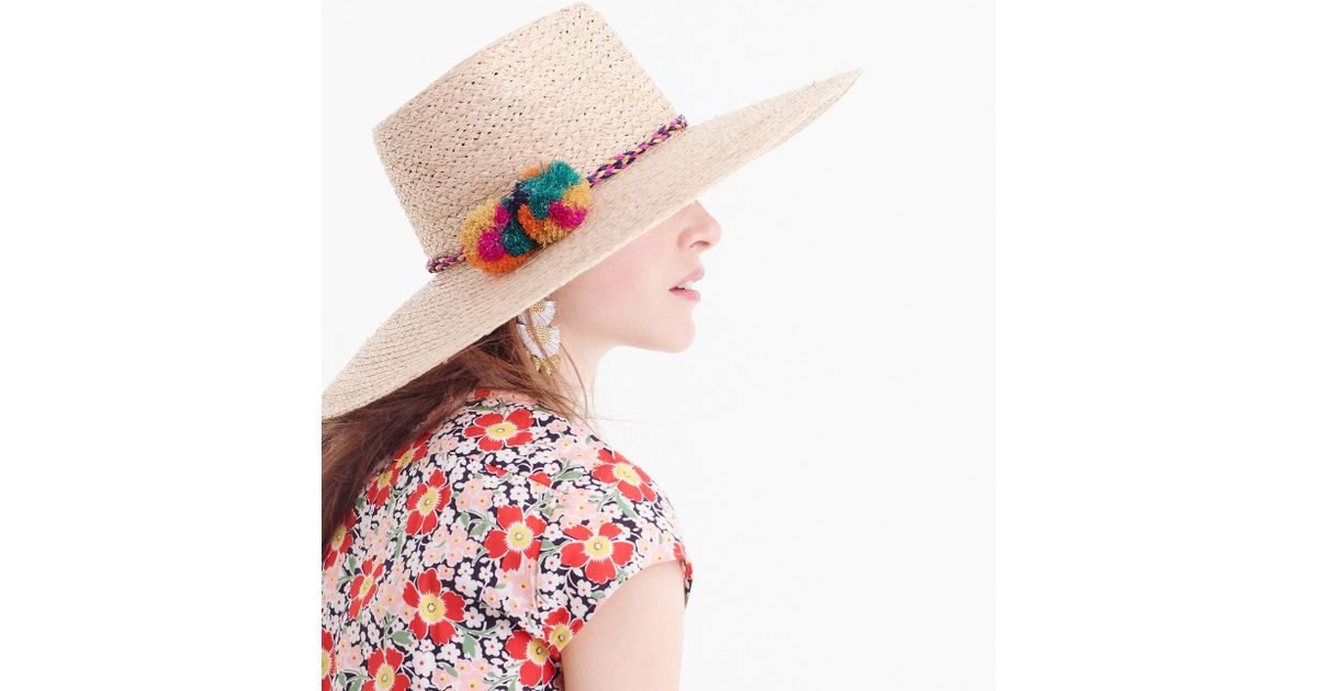 J.Crew Straw Sun Hat With Pom-poms in White - Lyst 92af3ad789c