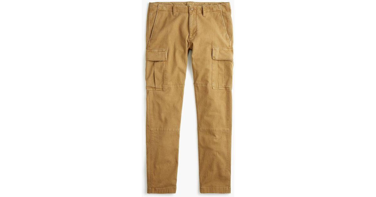 6a8c3971fe J.Crew 484 Slim-fit Stretch Cargo Pant In Garment-dyed Herringbone in Brown  for Men - Lyst