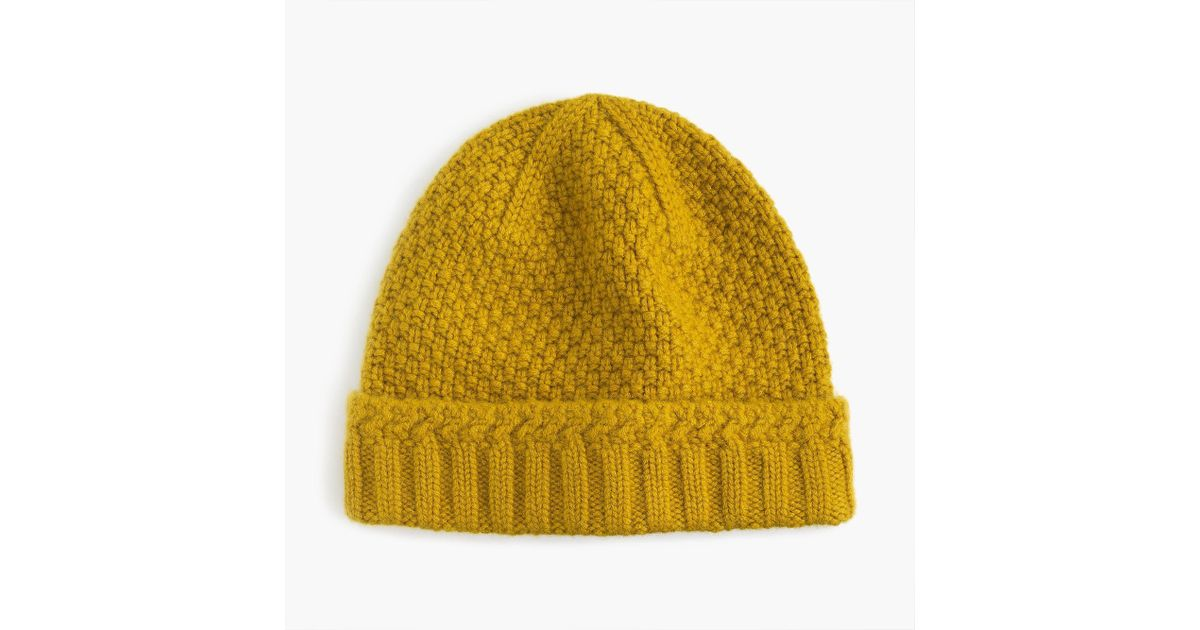 5a950f0de5561 J.Crew Cashmere Seedstitch Beanie in Yellow for Men - Lyst