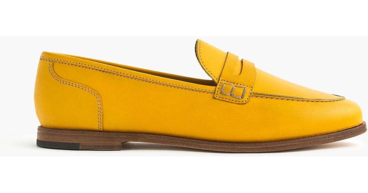 fc76b155de8 J.Crew Ryan Penny Loafers In Leather in Yellow - Lyst