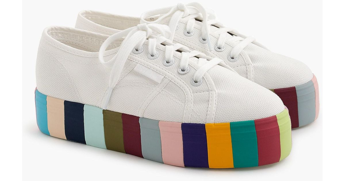 Lyst - J.Crew Superga 2790 Platform Sneakers With Rainbow Sole in White