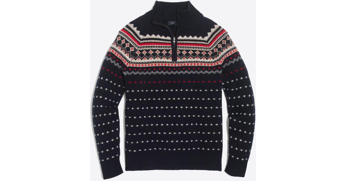 J.crew Lambswool Fair Isle Half-zip Sweater in Blue for Men | Lyst
