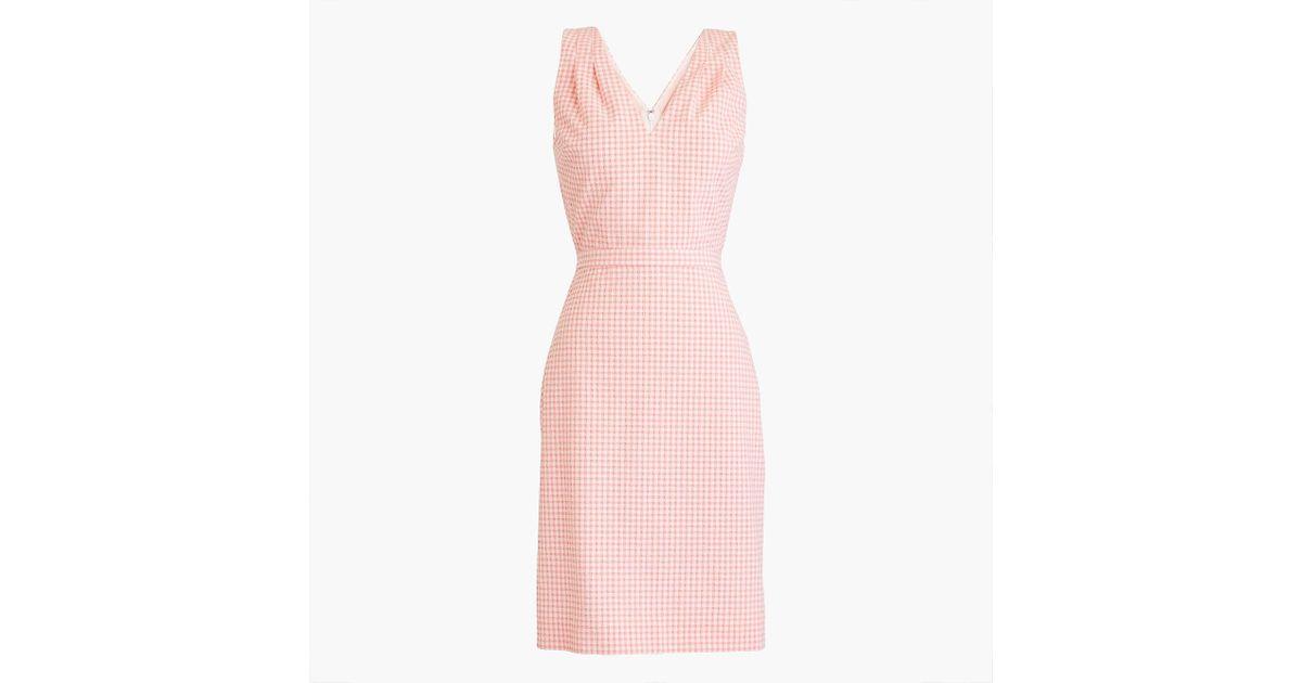 41f73c0eae Lyst - J.Crew V-neck Seersucker Dress In Gingham in Pink