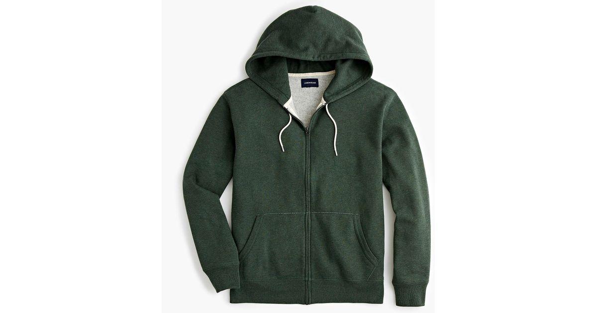 59ffcfbde J.Crew Brushed Fleece Full-zip Sweatshirt in Green for Men - Lyst