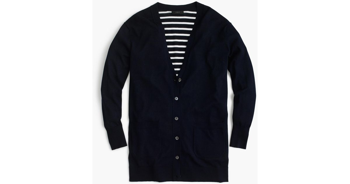 j crew long cardigan sweater with striped back in blue lyst
