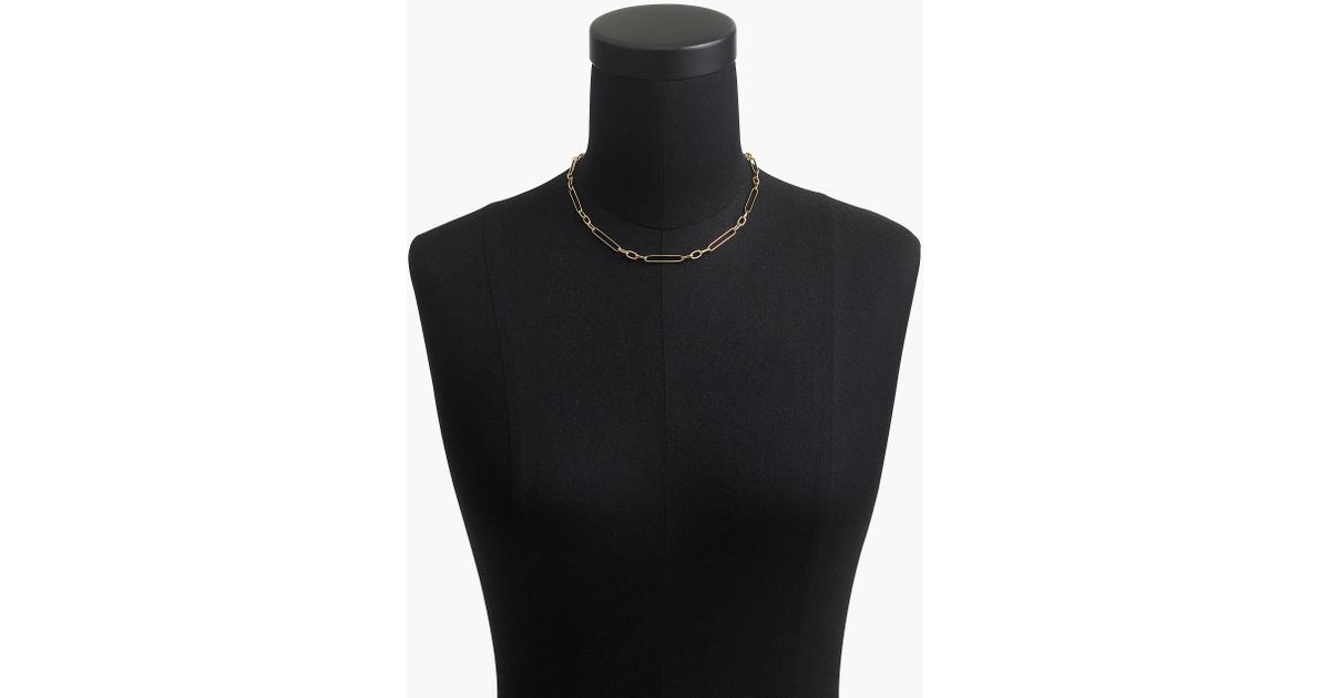 56d0463cff3 J.Crew Demi-fine 14k Gold-plated Short Multi-link Necklace in Metallic -  Lyst