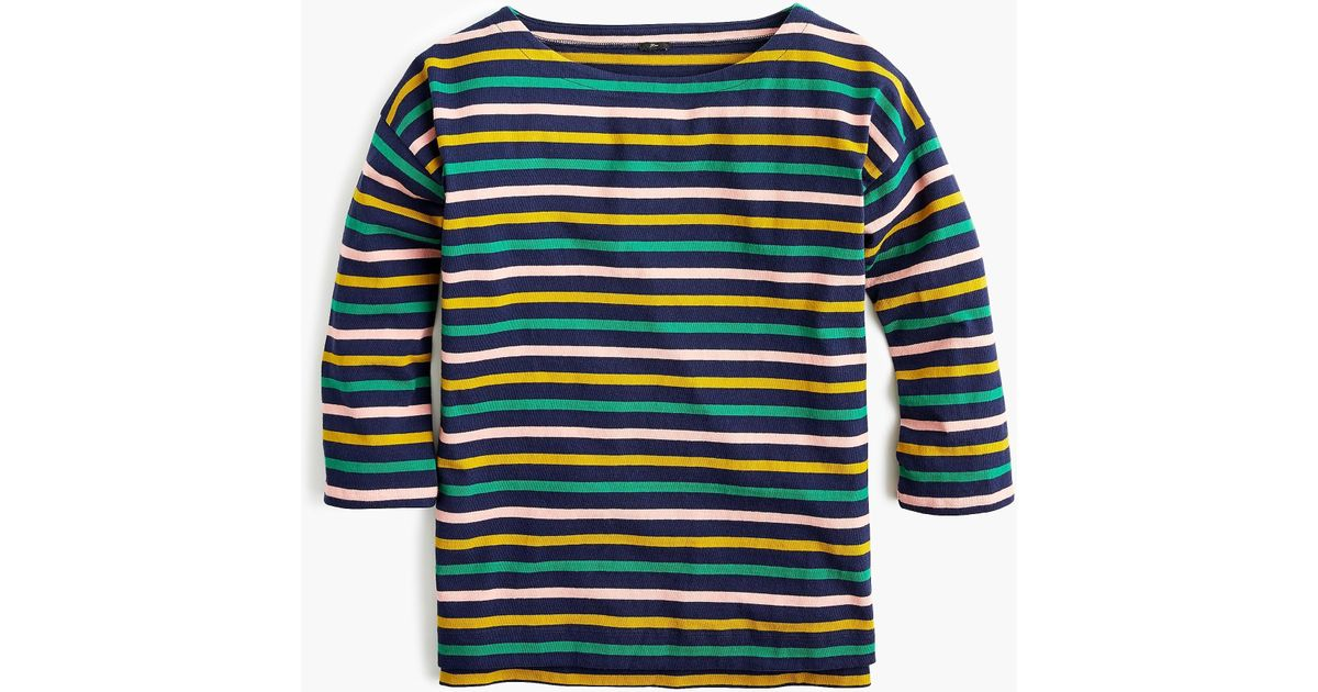 331efed6641d7f Lyst - J.Crew Boatneck T-shirt In Mixed Stripes in Blue