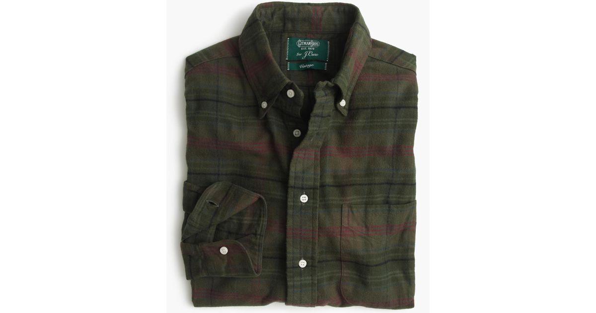 J Crew Gitman Vintage Brushed Flannel Shirt In Green For