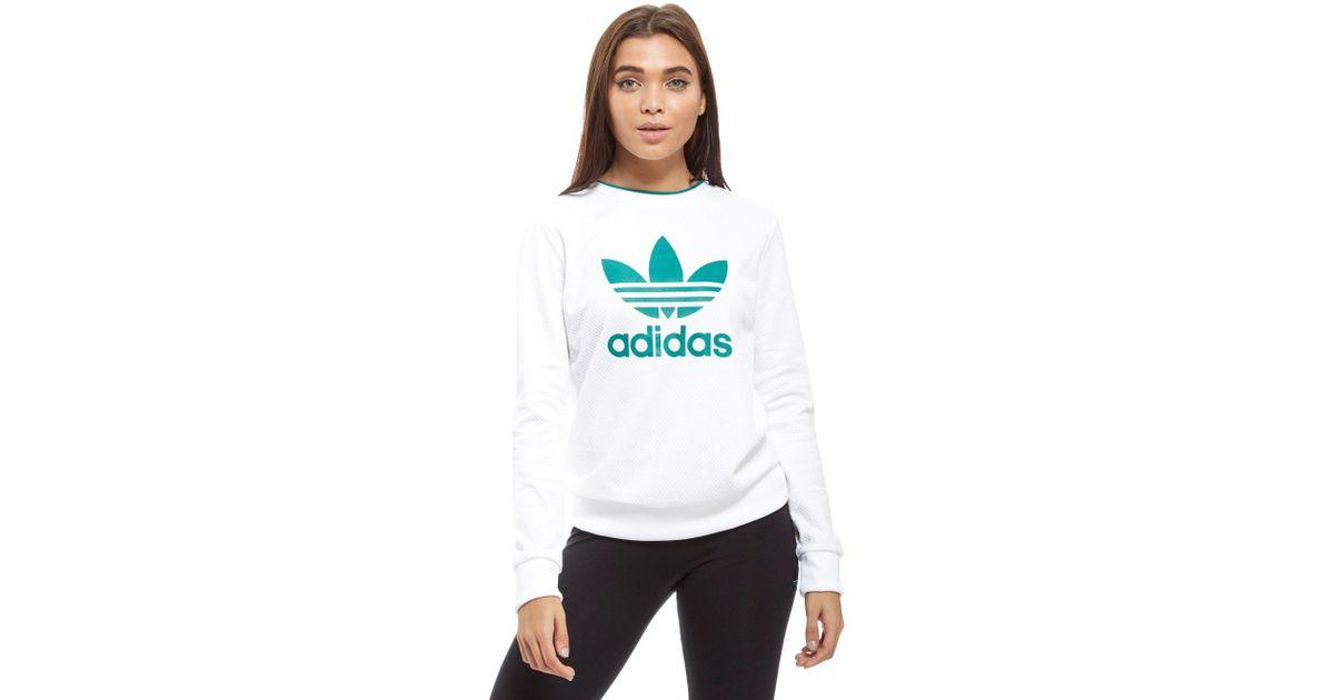 Adidas Originals White Eqt Mesh Crew Sweatshirt