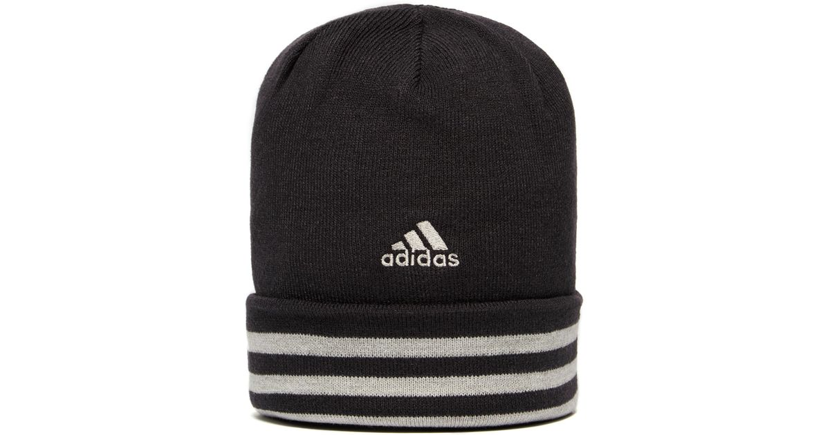 c6d38403e41 adidas Essential 3 Stripe Beanie Hat in Black for Men - Lyst