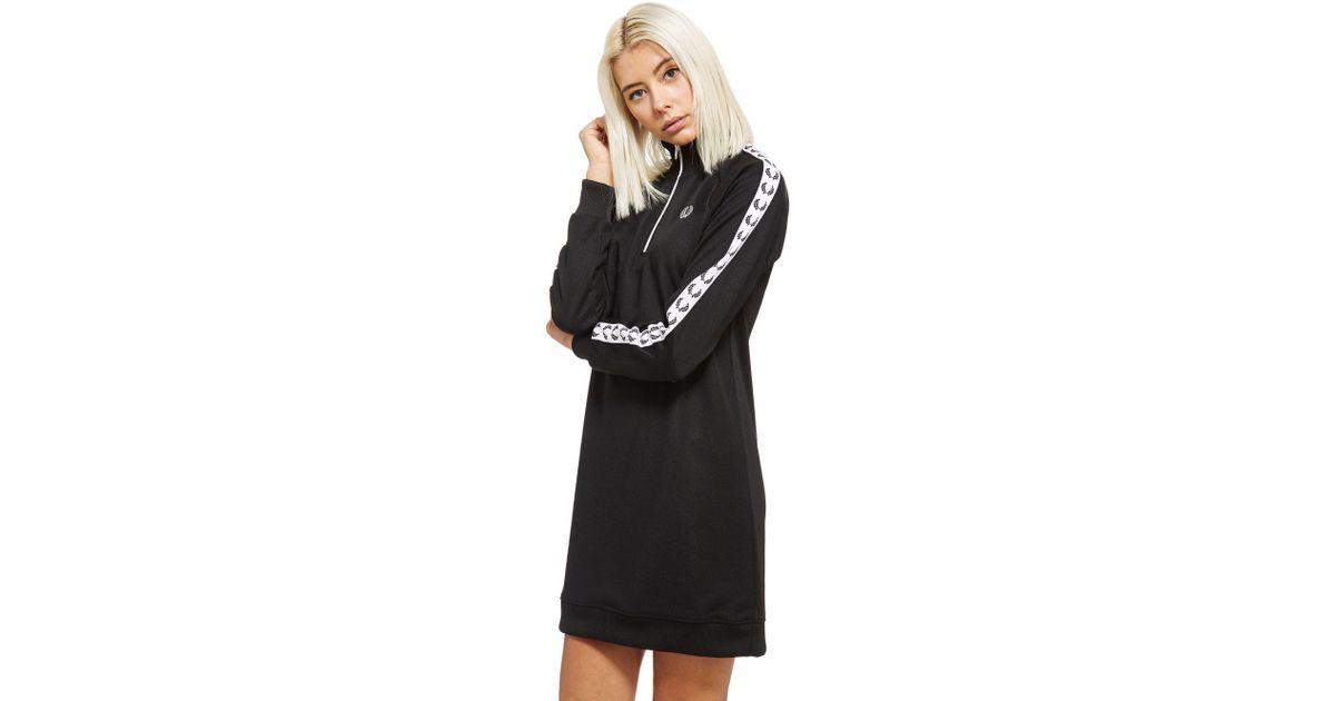 edcfb80eab633 Fred Perry Tape 1 2 Zip Dress in Black - Lyst