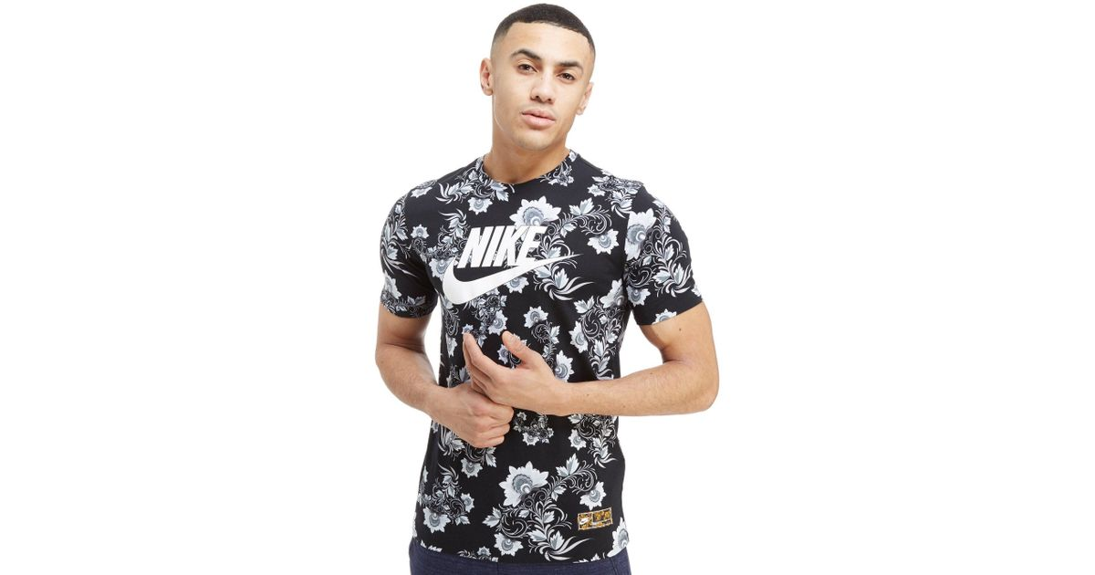 49dfb2188f37 Lyst - Nike Floral All Over Print T-shirt in Black for Men
