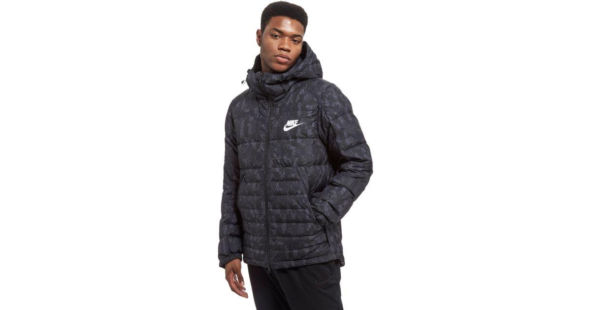 Lyst - Nike Printed Down Fill Hooded Jacket in Black for Men 9819b3b80