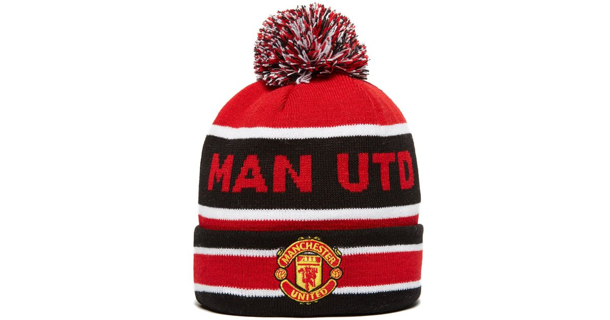 Lyst - KTZ Manchester United Jake Knit Bobble Hat in Red for Men bec717a5948