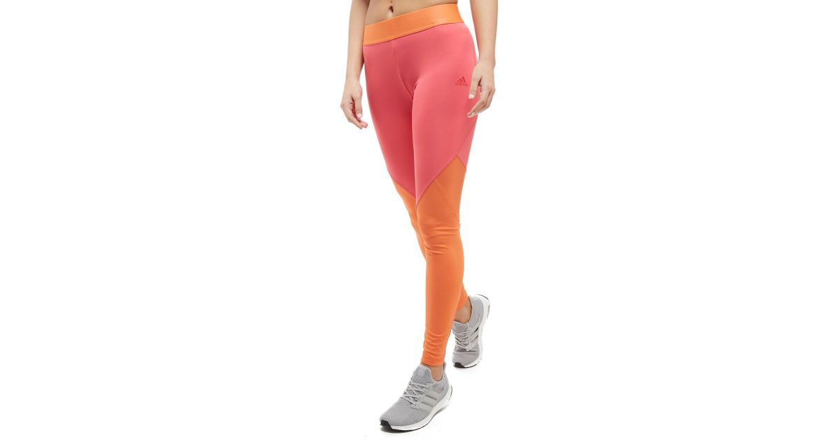 2507f8cc3138c adidas Climacool Logo Long Tights in Orange - Lyst