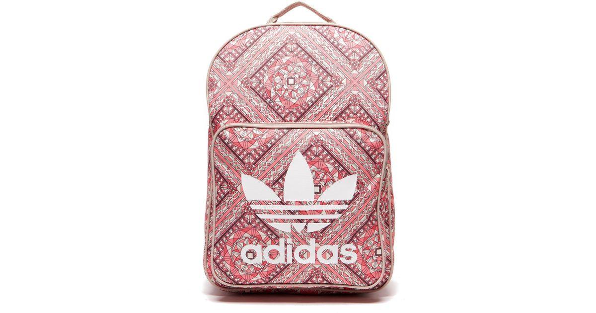 4c5b3b84c9a4 Lyst - adidas Originals Classic Print Backpack in Pink