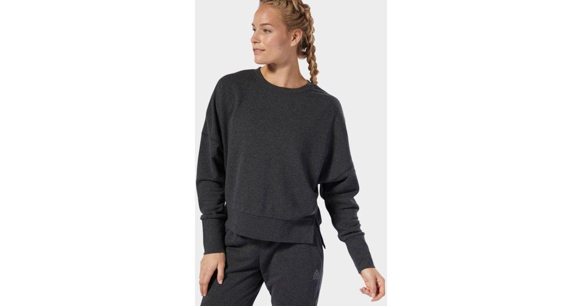 Lyst - Reebok Crossfit Terry Crew Sweatshirt in Black 3e27d03467438