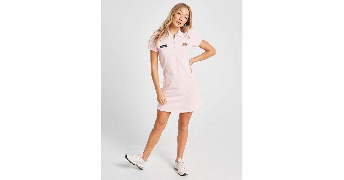 16a080a797a Ellesse Polo Shirt Dress in Pink - Lyst