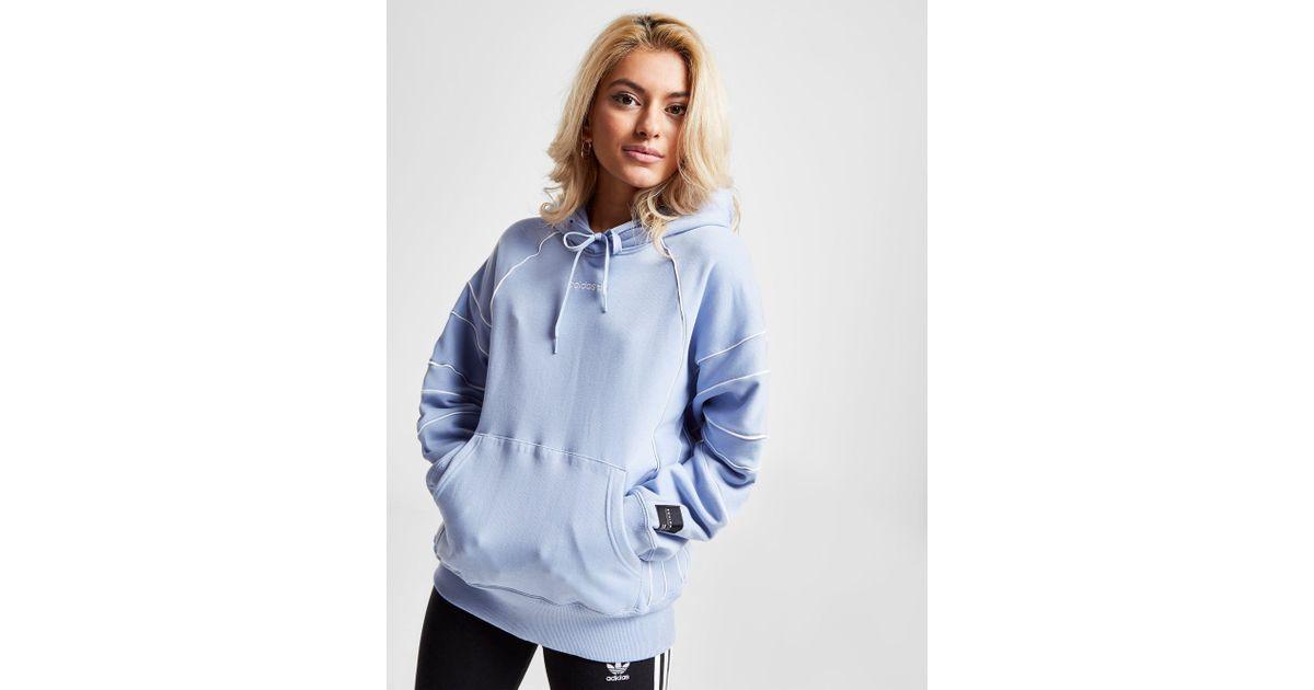 free shipping 5967f a74f6 Adidas Originals Blue Eqt Oversized Hoodie