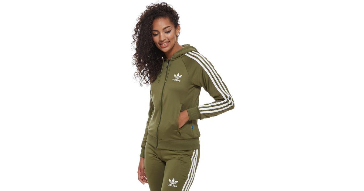 036cf024ad3fb4 adidas Originals 3-stripes Full Zip Hoodie in Green - Lyst