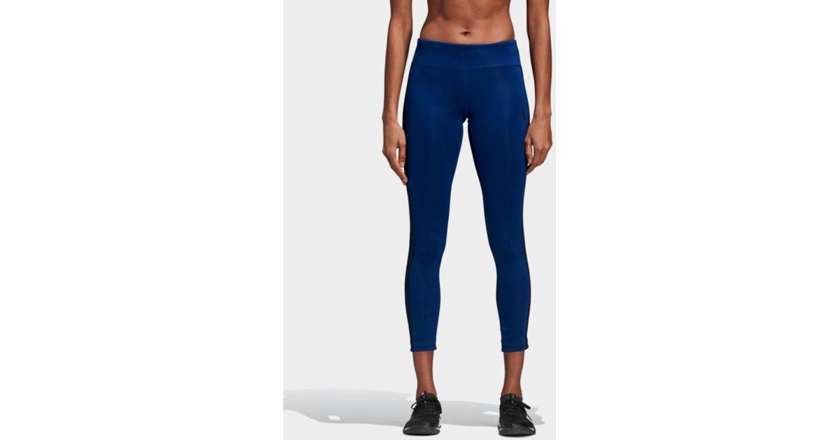 bea1de0fb2a42 adidas Design 2 Move Climalite 3-stripes 7/8 Tights in Blue - Lyst