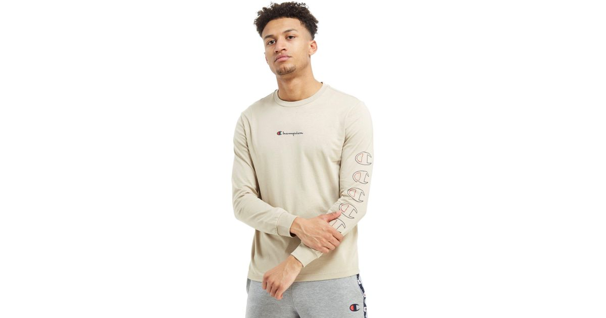 3c4ad4c90187 Champion Repeat Long Sleeve T-shirt in Natural for Men - Lyst