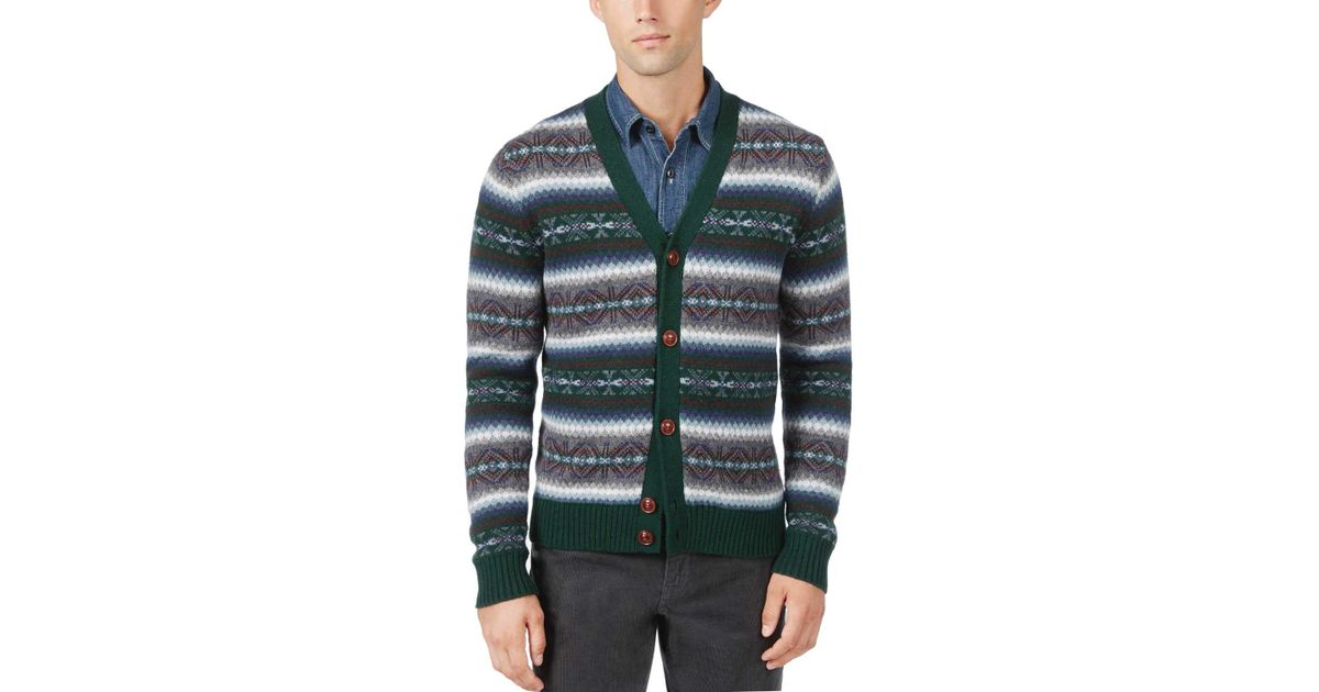 Tommy hilfiger Fair Isle Cotton And Wool Cardigan Sweater Green ...