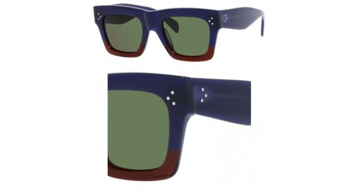 2e7b785baa59a Lyst - Céline Sunglasses 41054  s 0fv7 Burgundy   1e Green Lens in Blue