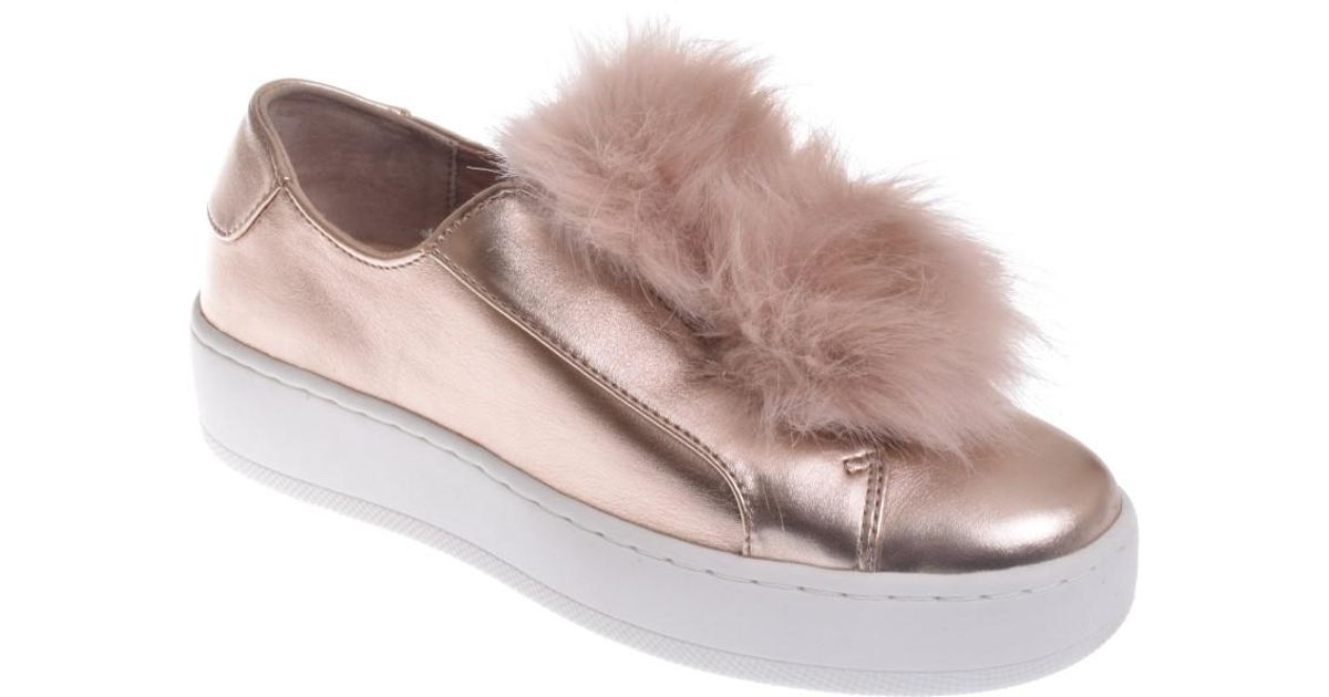 2dd3eb90cd1 Lyst - Steve Madden Breeze Fur Pom-pom Platform Sneaker- Rose Gold in Pink