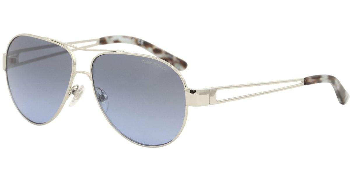 fa648f83b5 Lyst - Tory Burch Ty6060 31618f Silver Aviator Sunglasses in Metallic