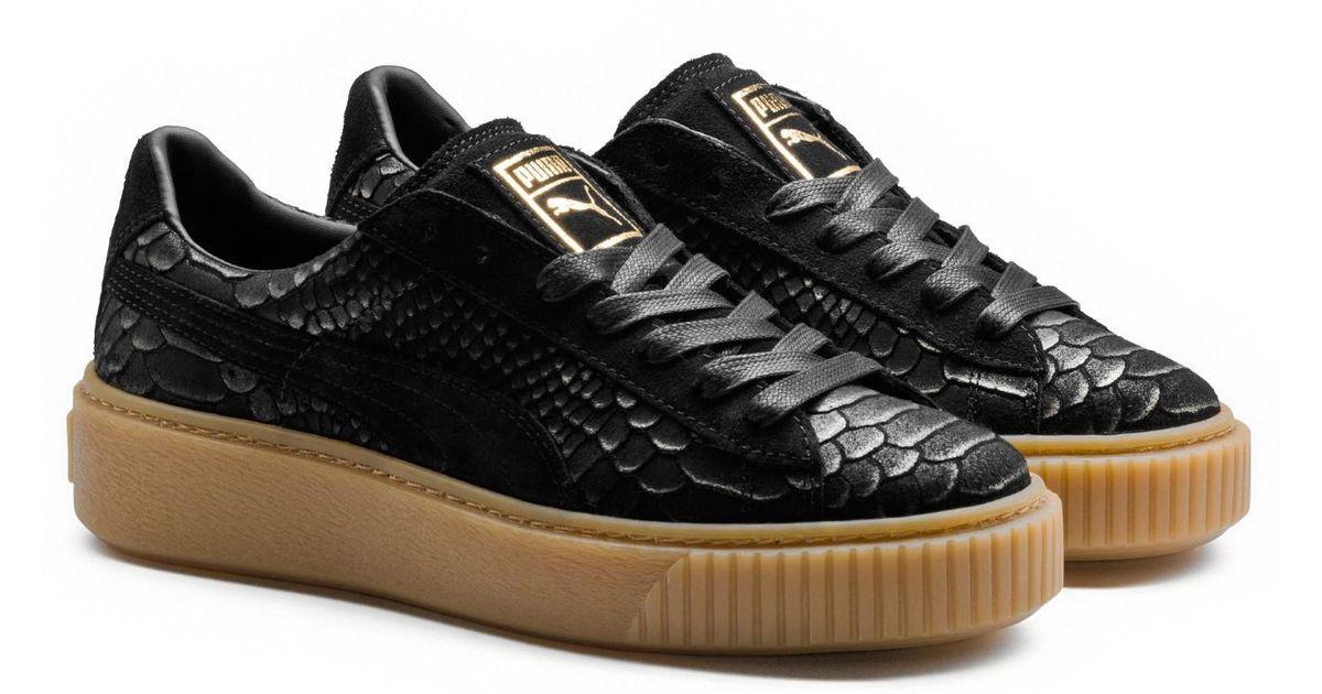 0c8f602957a8 Lyst - PUMA Basket Platform Exotic Women s Sneakers in Black