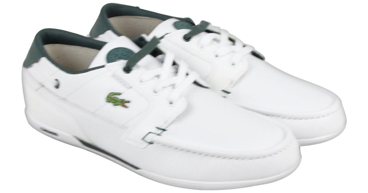 392f3ae80e407 Lyst - Lacoste Dreyfus Leather Boat Shoes Fashion Sneakers in White for Men