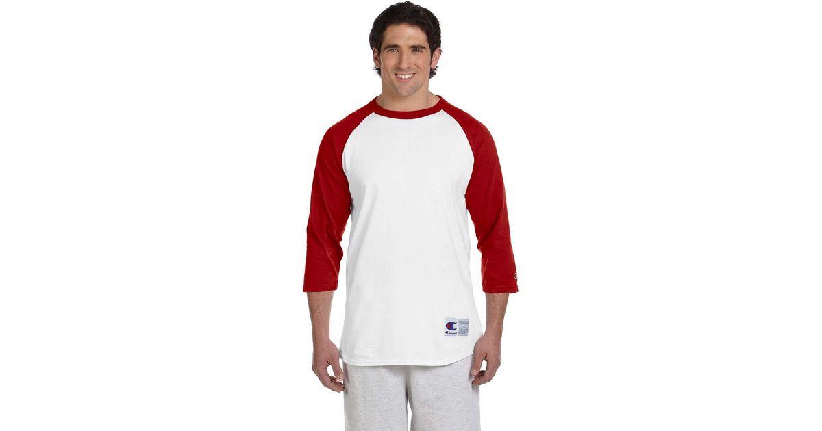 34ca2d24 Champion T1397 5.2 Oz. Raglan T-shirt White/ Scarlet L in Red for Men - Lyst