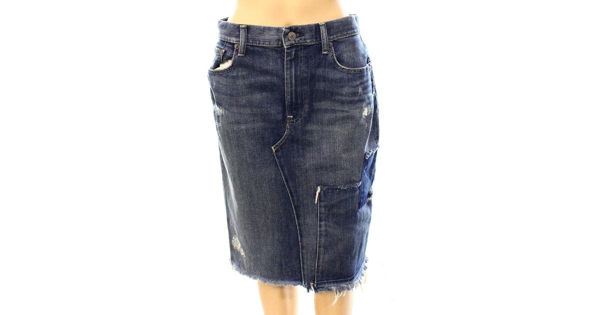 e5756102cf Lyst - Polo Ralph Lauren Blue 8 Distressed Denim Pencil Skirt in Blue