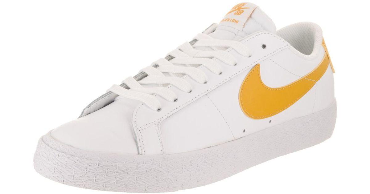 82d0d12d82b93a Lyst - Nike Sb Zoom Blazer Low White mineral Gold Skate Shoe 8 Men Us in  White for Men